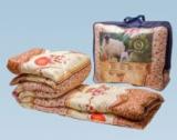 Одеяло шерсть овечья 140*205 (вес 1,8 кг) ткань полиэстер ОПШ-15,Ника