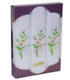 РV60 Подарочный набор женские  носовые платки с вышивкой 3 шт.Etteggy