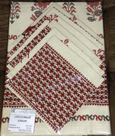 Скатерть лен 150*190+6 салфеток , Ерофеев